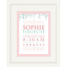Elegant Themed New Baby Personalised Name Print