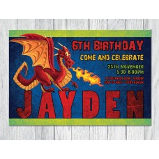 Dragon Theme, Personalised Party Invitation
