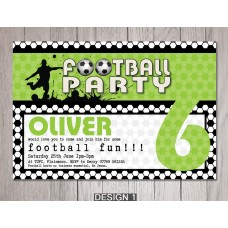 Football Theme Personalise Children's Birthday Party Invitations