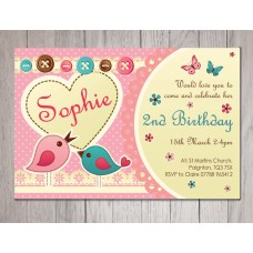Cute Birds Personalised Party Invitations
