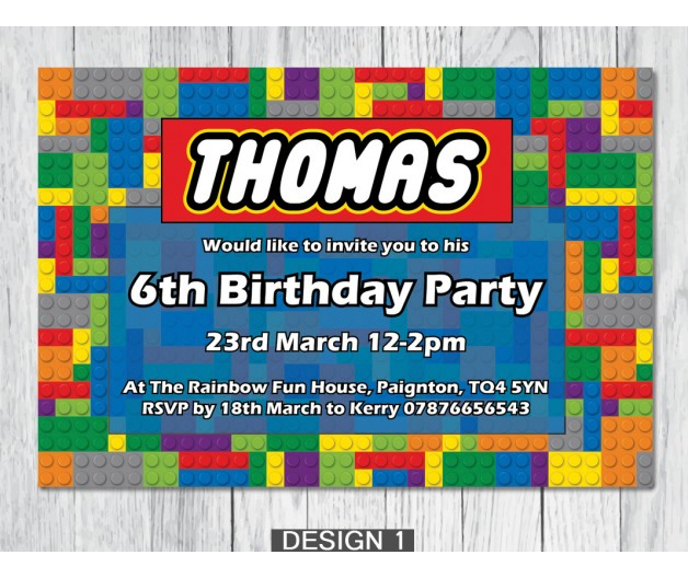 Lego Personalised Birthday Party Invitations