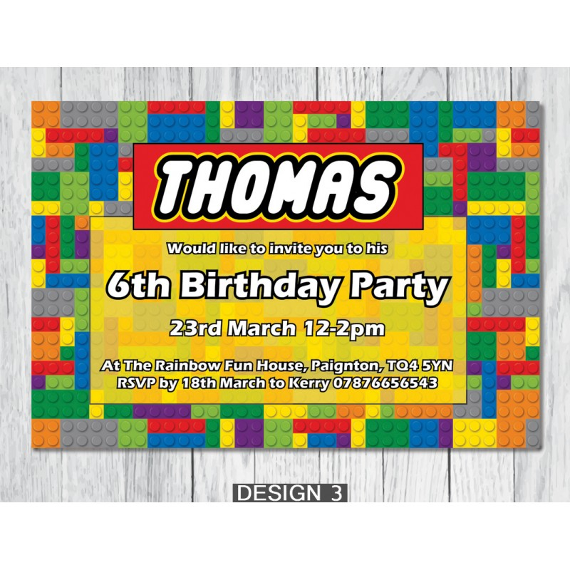 Lego themed personalised birthday party invitations lego personalised birthday party invitations stopboris Images