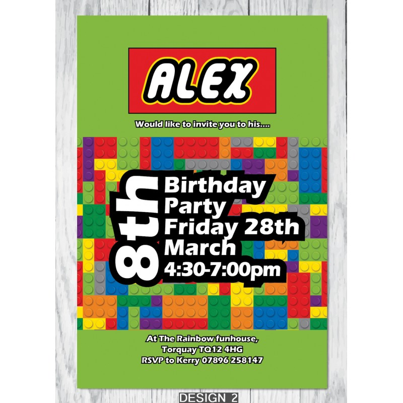 Personalised lego themed birthday party invitations with envelopes lego theme birthday party invitation stopboris Image collections