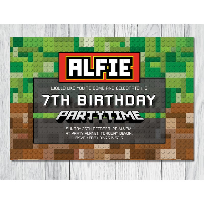 Minecraft theme personalised birthday party invitation minecraft minecraft lego theme personalised birthday party invitation stopboris Image collections