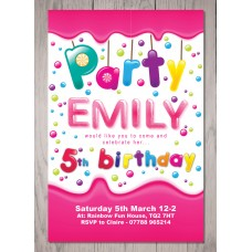 Candy Theme Personalised Birthday Party Invitation