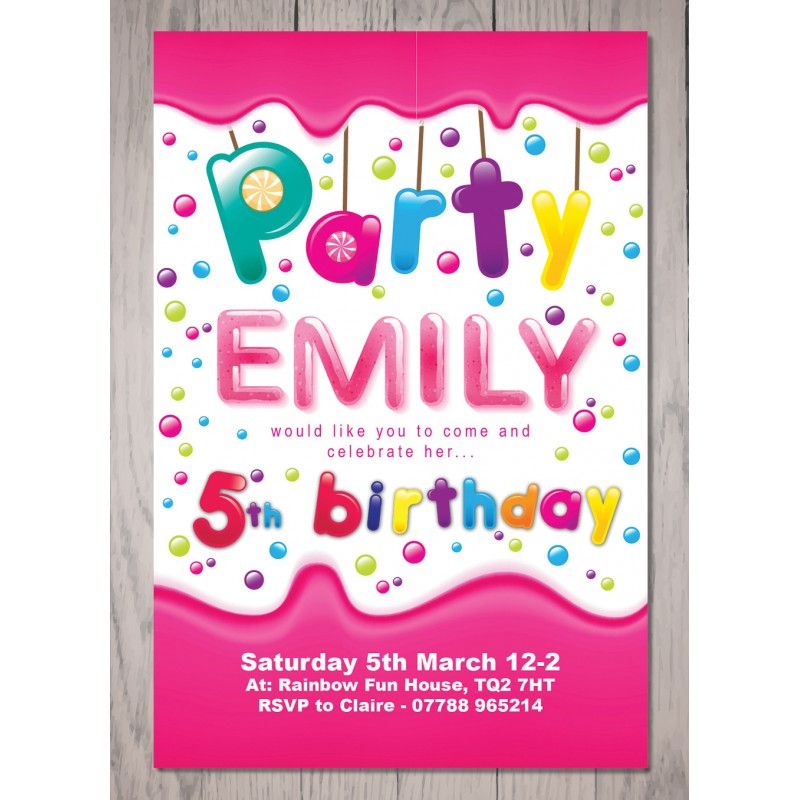 Candy theme personalised birthday party invitation stopboris Image collections