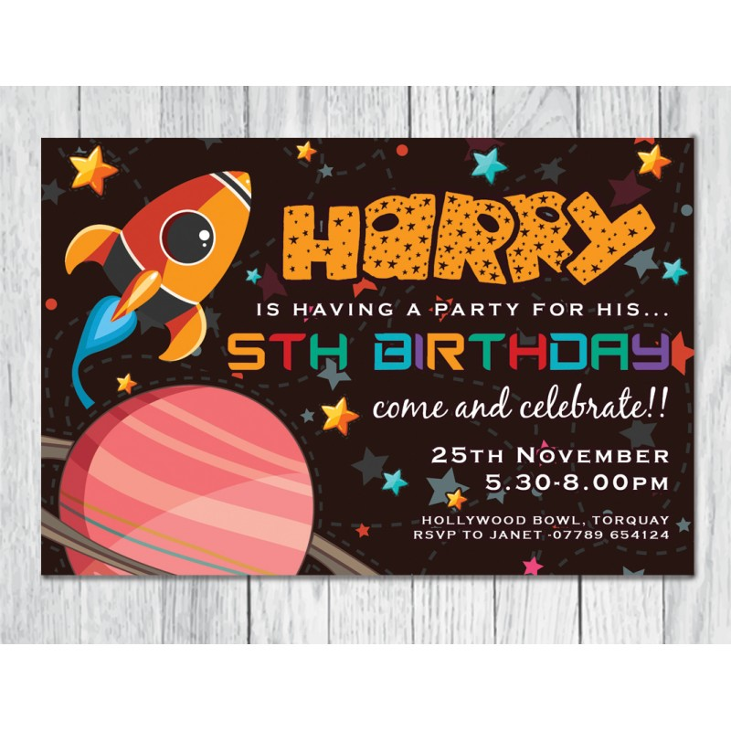 Rocket theme personalised birthday party invitation rocket theme personalised childrens birthday party invitation stopboris Image collections
