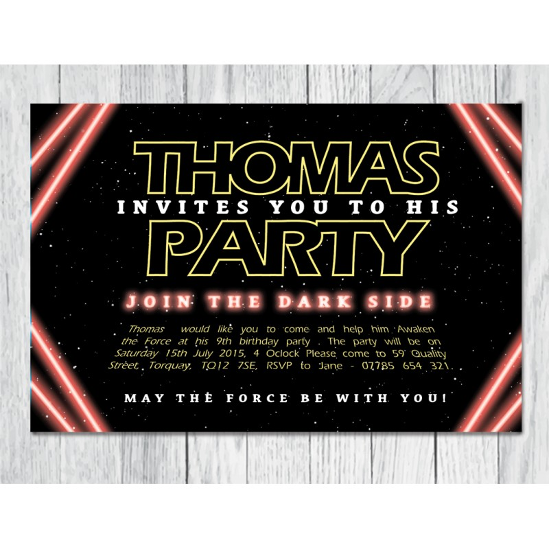 Star wars theme personalised childrens birthday party invitation personalised childrens birthday party invitation star wars theme stopboris Image collections