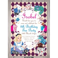 Alice in Wonderland Childrens Birthday Party Invites