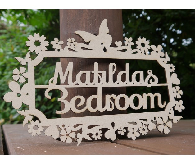 Personalised Children's Bedroom Door Sign / Plaque - Butterfly
