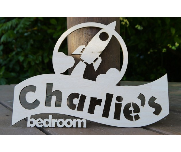 Personalised Children's Bedroom Door Sign / Plaque  - Space Rocket