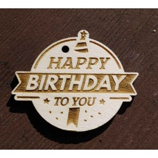 Laser Cut Wooden Gift Tag - Happy Birthday