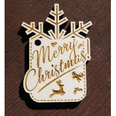 Laser Cut Wooden Gift Tag  - Merry Christmas